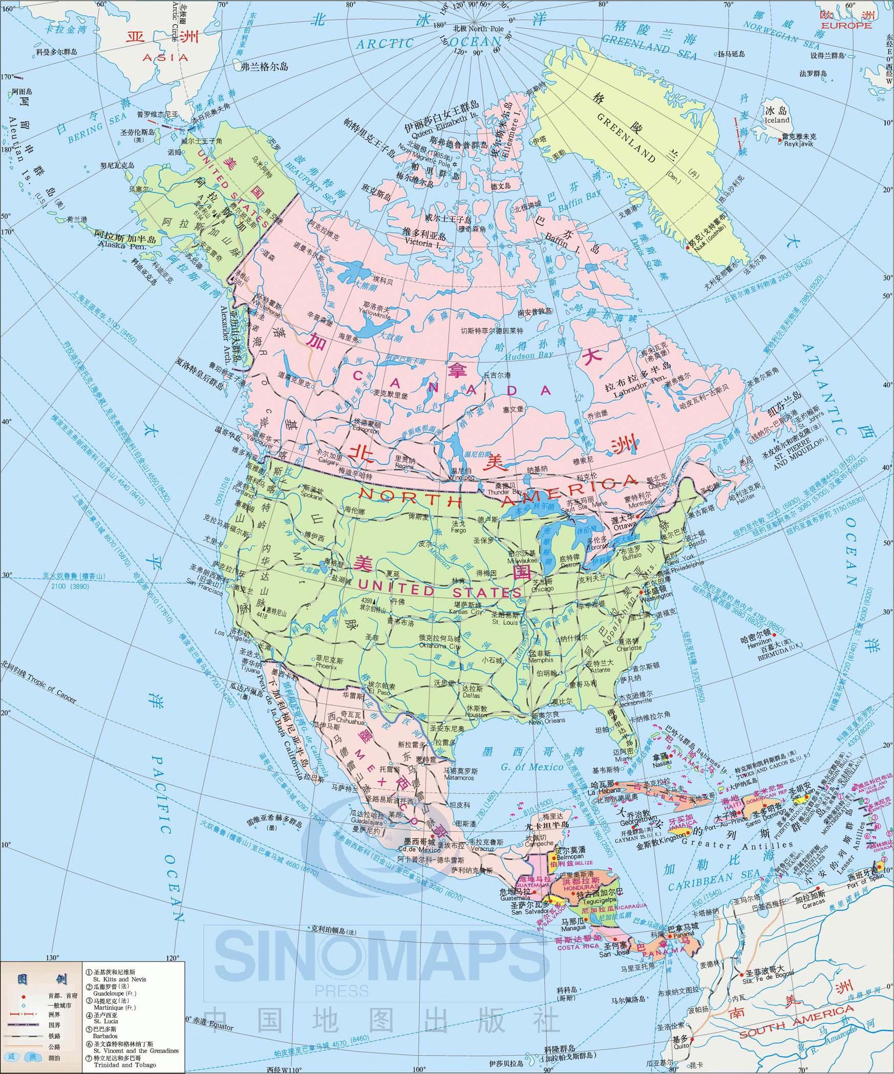 北美洲地图高清中文版