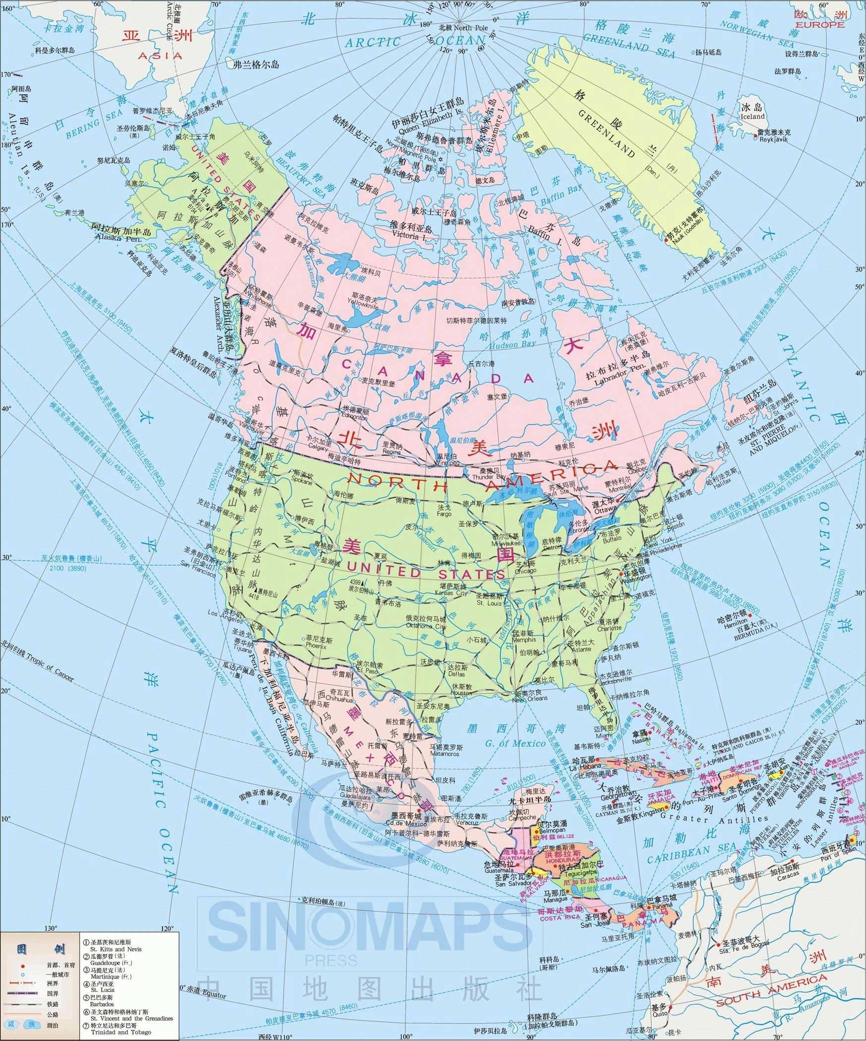 北美洲地图中文版
